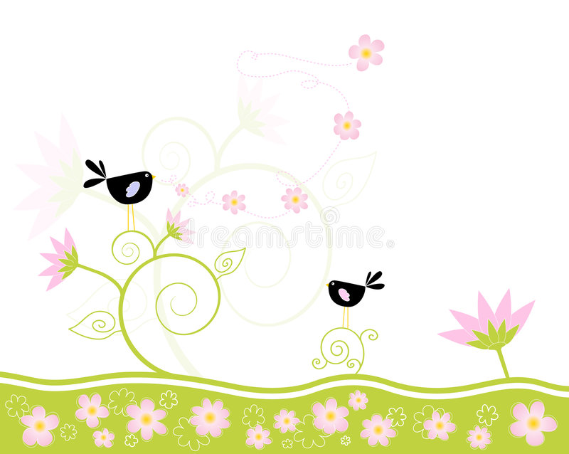 Download Singing spring stock vector. Illustration of birds, blackbird - 5259834
