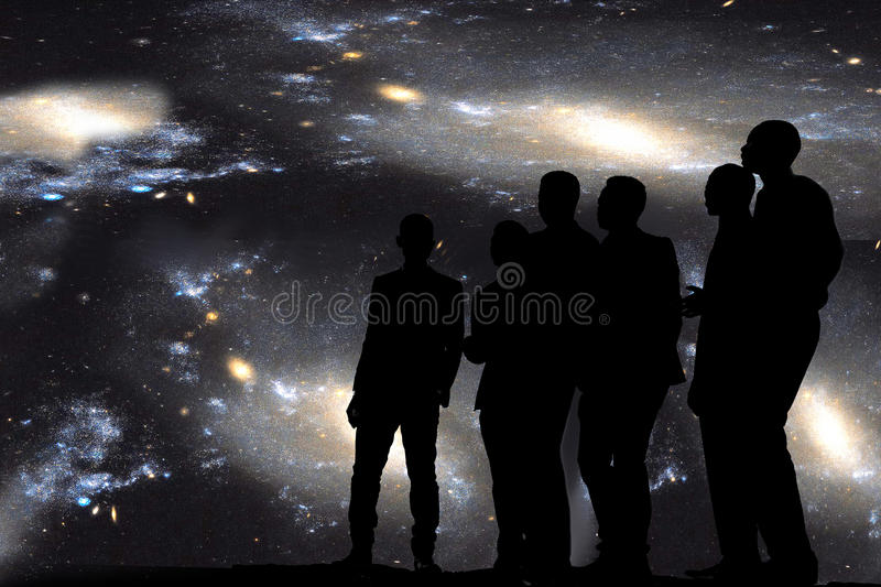 Singing under the stars. Group of men singing outside under the sky