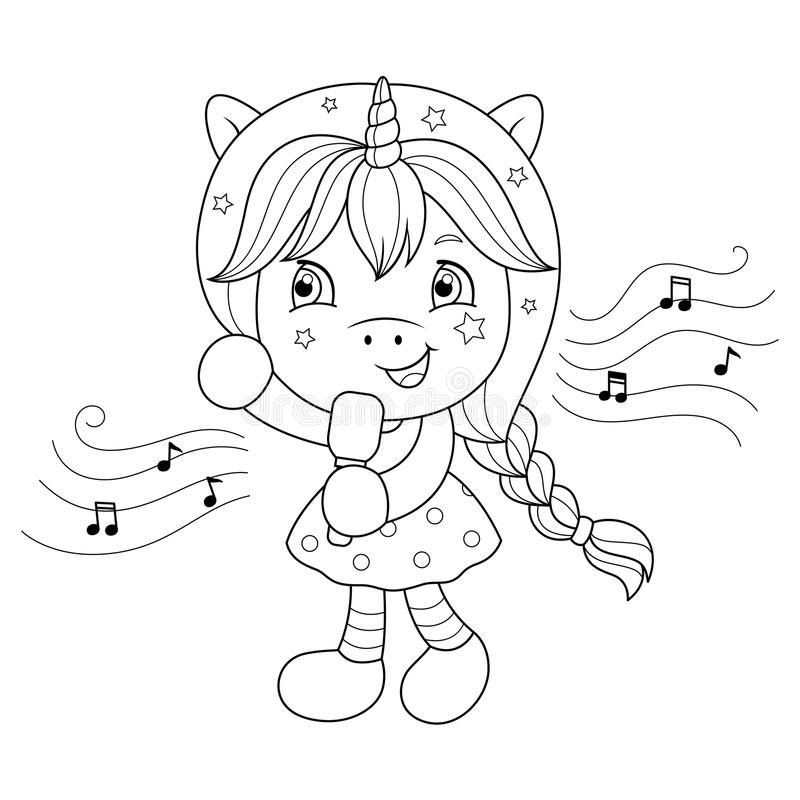 Singing unicorn girl with microphone. Coloring page for girls. Vector. Singing unicorn girl with microphone. Coloring page for girls. Vector illustration stock illustration
