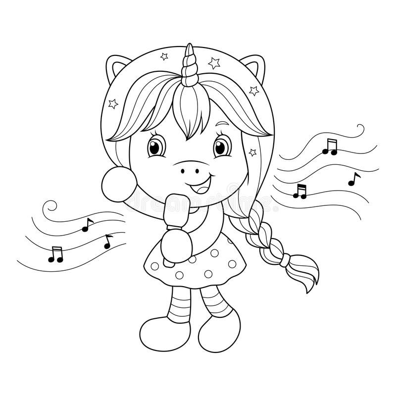 Singing unicorn girl with microphone. Coloring page for girls. Vector. Singing unicorn girl with microphone. Coloring page for girls. Vector illustration royalty free illustration
