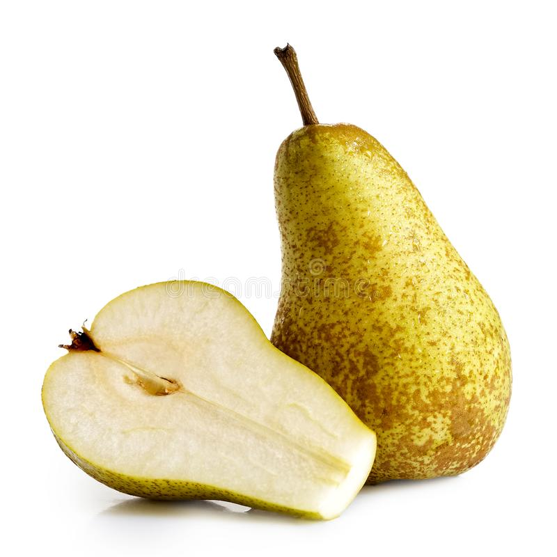 Single abate fetel pear next to a half of pear isolated on white stock images