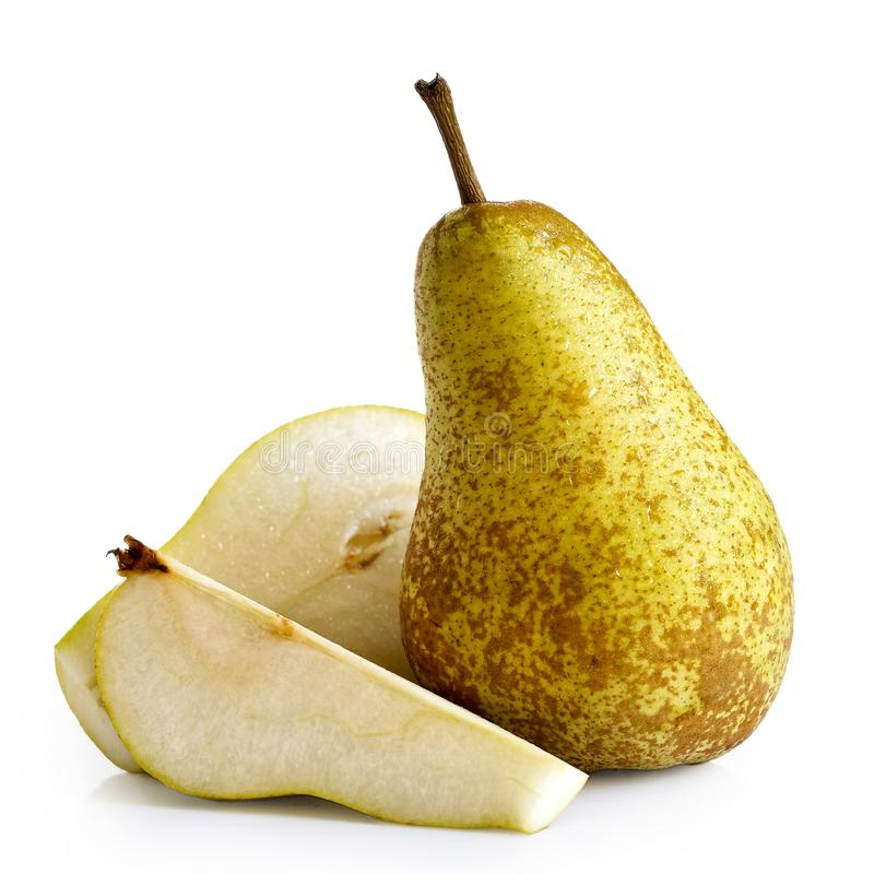 Single abate fetel pear next to a half and a slice of pear isolated on white. royalty free stock photography