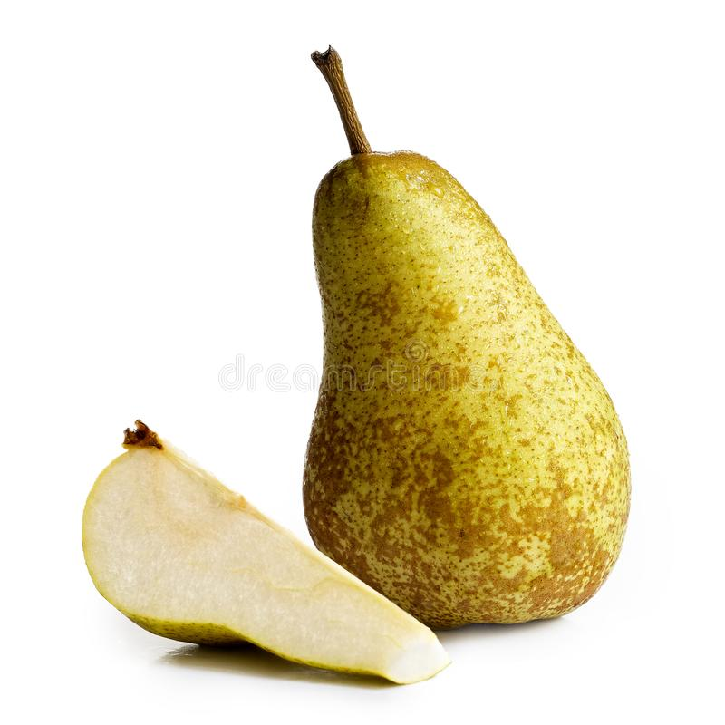Single abate fetel pear next to a slice of pear isolated on whit stock photography