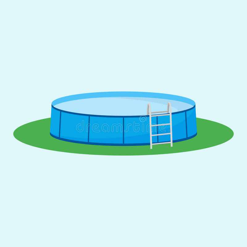 Single above ground pool on the grass. Vector illustration. Single above ground pool on the grass stock illustration