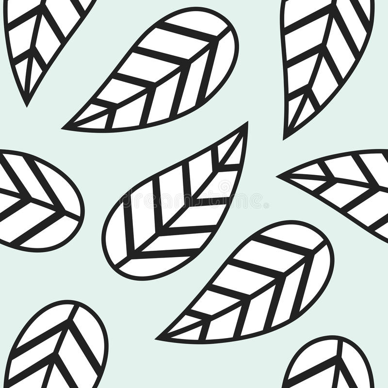 Single abstract black and white leaves pattern stock illustration