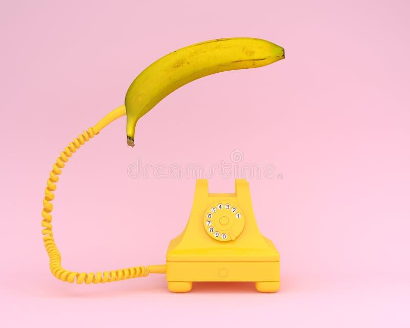 Single banana headphone with yellow retro telephone on pink back. Ground. Fruit minimal concept vector illustration