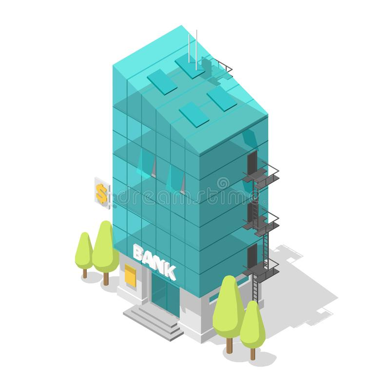 Single bank building. Glass facade suite apartments. Staircase black exit. Modern style architecture. Vector Isometric. Stock clipart royalty free illustration
