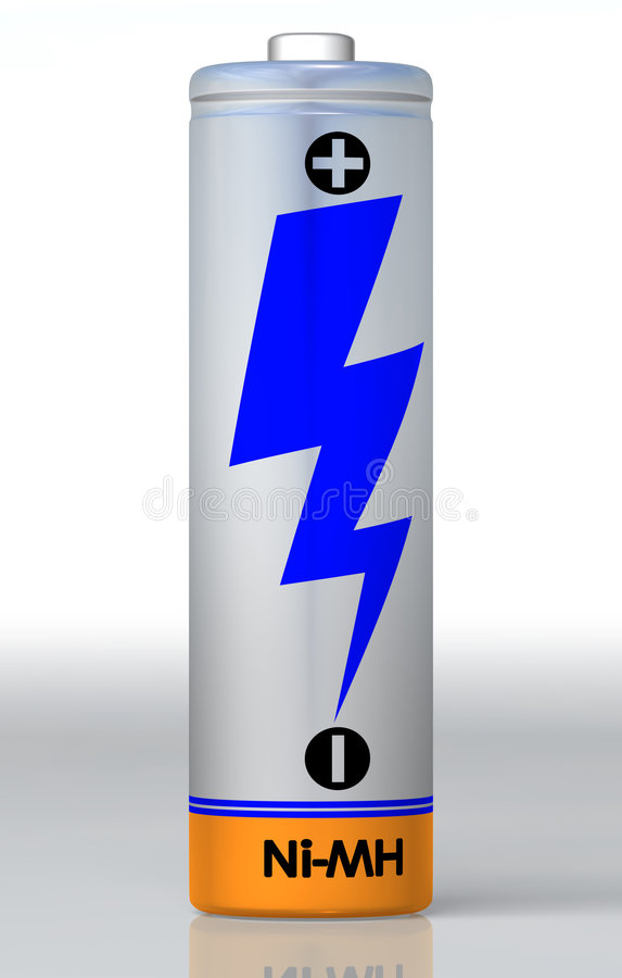 Single battery. Highly detail and in high resolution with ground reflection. Clipping path included for easy background extraction stock illustration