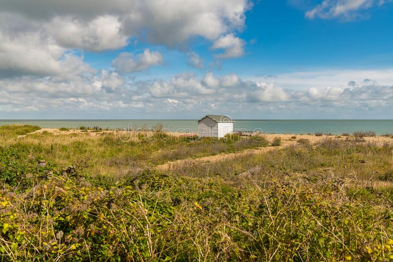 The lonely beach hut stock photography