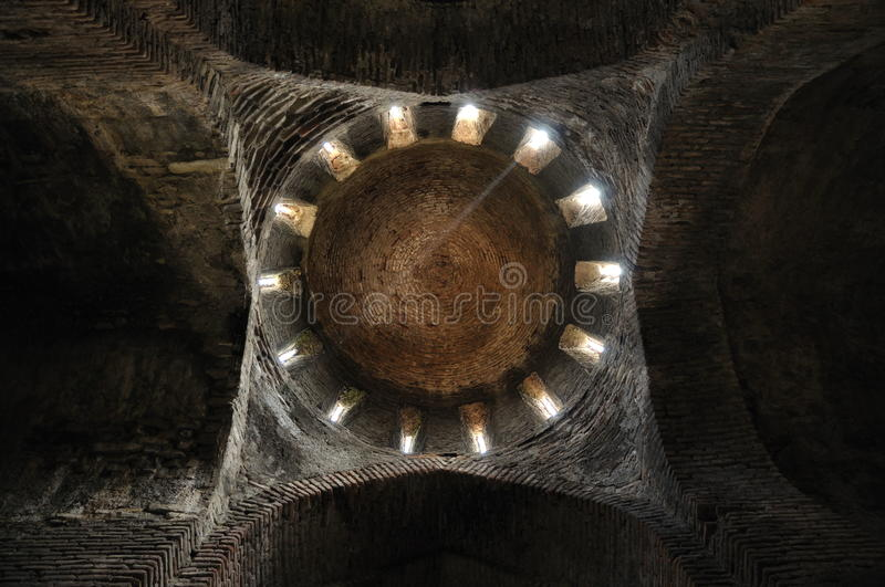 Single beam in the church royalty free stock photos