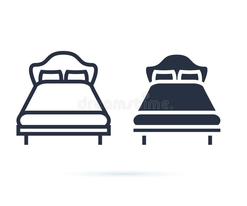 Single bed. linear icon. Line and solid icons set for hotel, room. Double bed for couple, rest, hostel. Bed for two. Persons with a pillow and a blanket in a stock illustration