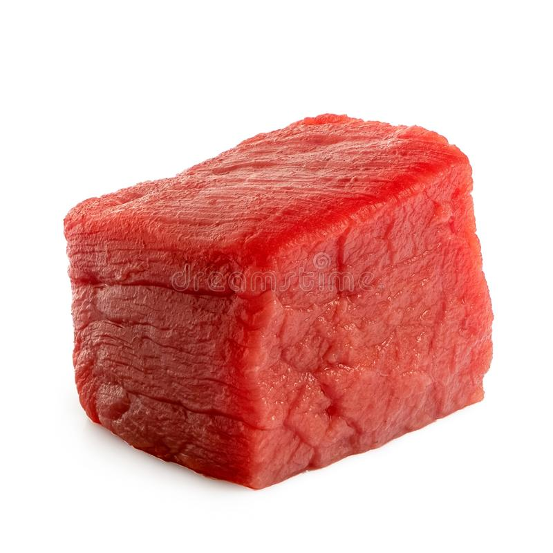 Single beef cube isolated on white stock photo