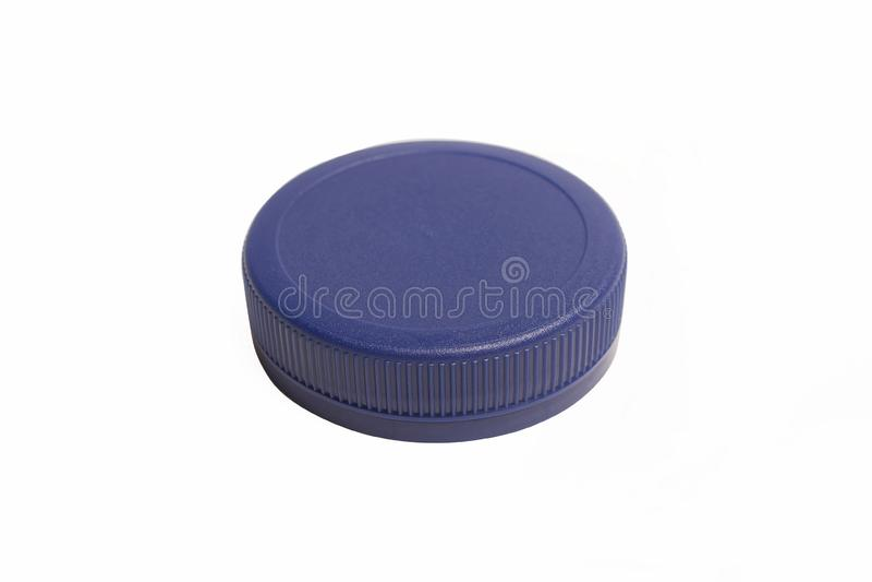 Single blue plastic bottle cap stock photo