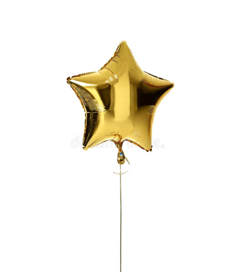 Single big gold star balloon object for birthday party royalty free stock photos