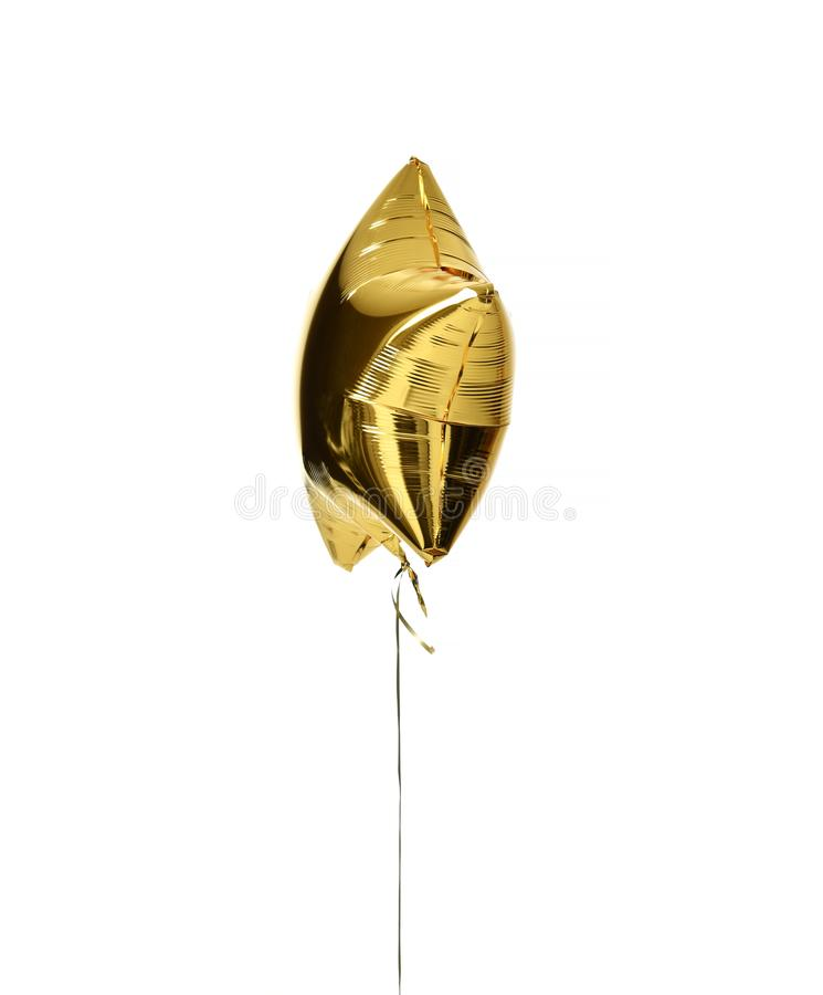 Single big gold star balloon object for birthday party stock photos