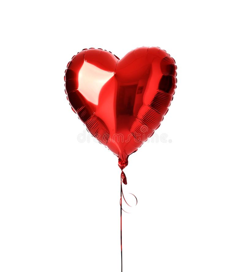 Single big red heart balloon object for birthday isolated stock image