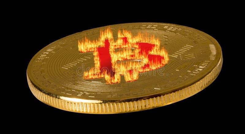 Single bitcoin macro image isolated against black royalty free stock photography