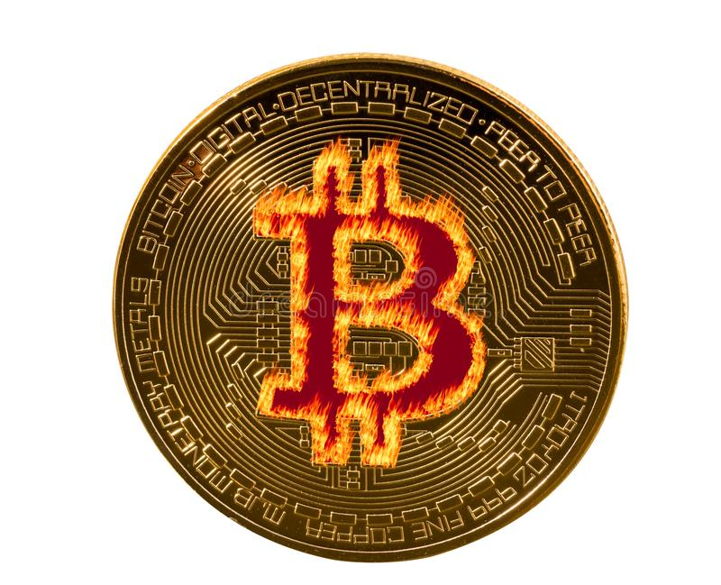 Single bitcoin macro image isolated against white royalty free stock photo