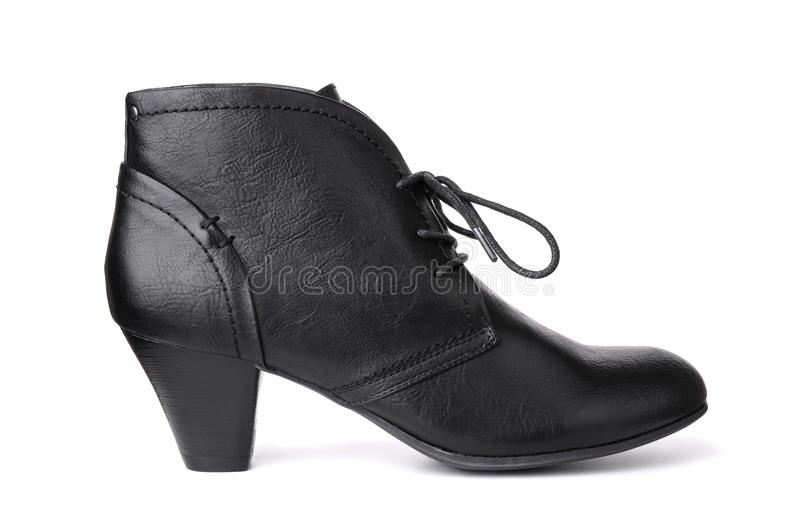 Single black leather women's shoe stock photo