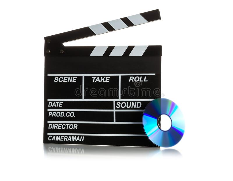 Single, black, open movie clapper or clapper-board with dvd movie disc on white - digital movie, home cinema or movie night royalty free stock image