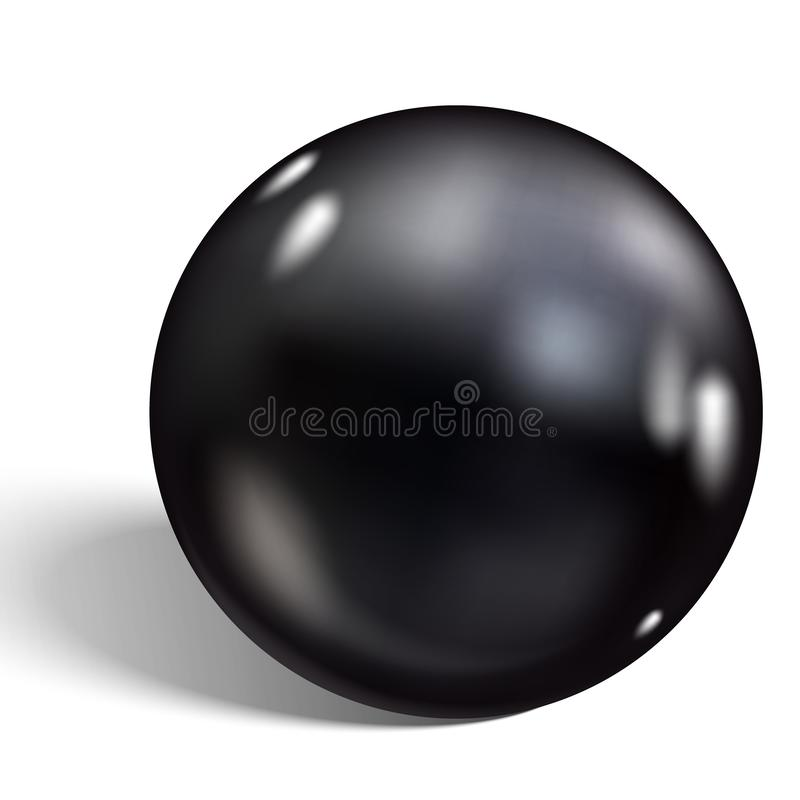 Single black pearl isolated on white background. Vector illustration.  stock illustration