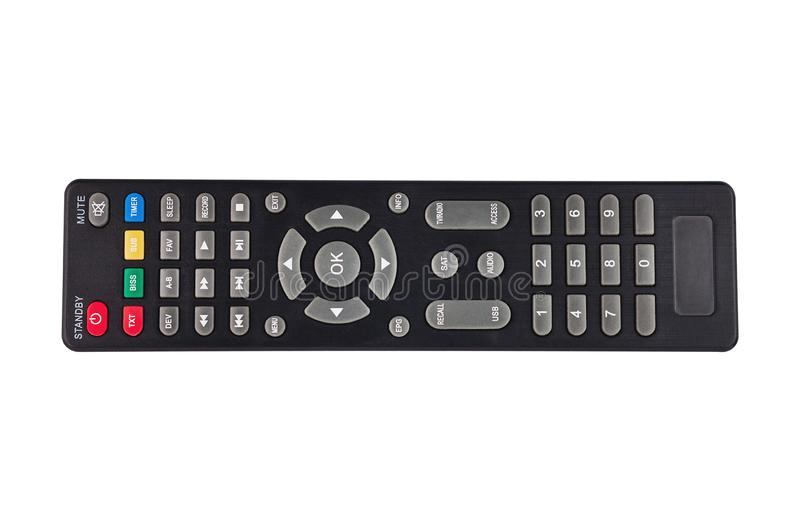 Single black plastic remote control for different multimedia devices isolated on white background royalty free stock photography