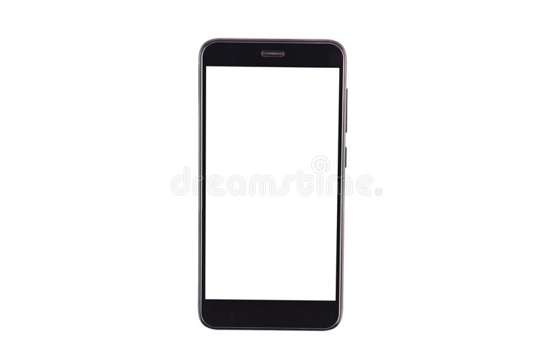 Single black smartphone with isolated blank white screen isolated on white background. Clipping path - image. Top view royalty free stock photos