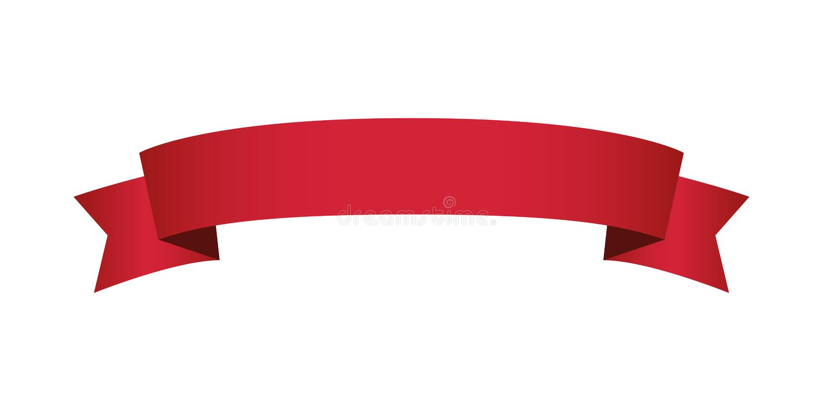 Single red banner ribbon vector isolated. Single blank red banner ribbon vector isolated for multipurpose text template royalty free illustration