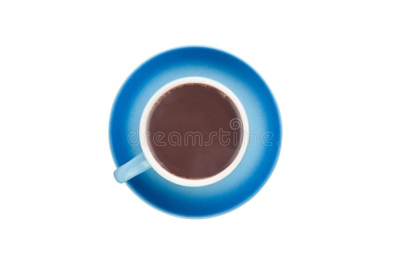 Single blue ceramic cup with handle full of hot fresh liquid chocolate on circle saucer isolated on white background. Top view. Clipping path royalty free stock photo