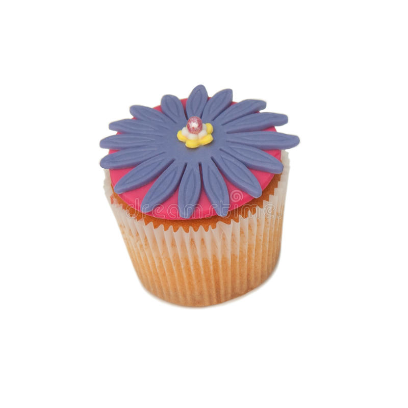 Single blue cupcake stock image