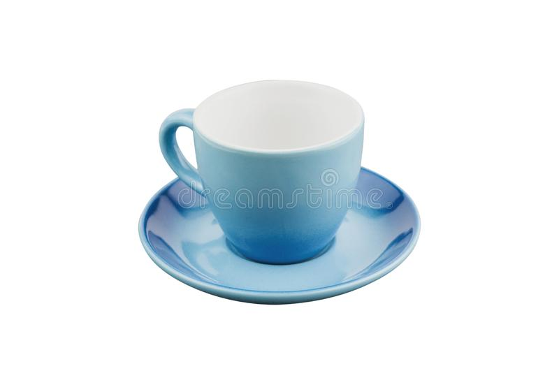 Single blue empty ceramic cup for drinks or other liquid products with circle saucer isolated on white. Background royalty free stock photo
