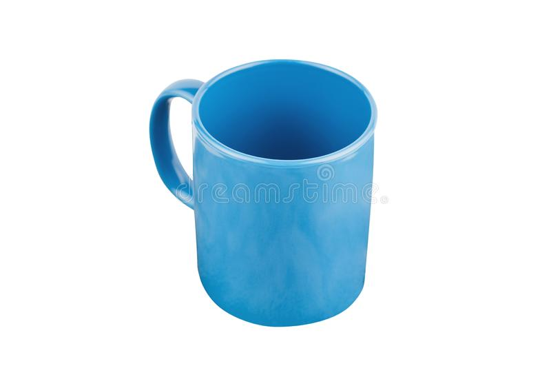 Single blue empty ceramic cup for drinks or other liquid products isolated on white. Background stock photo