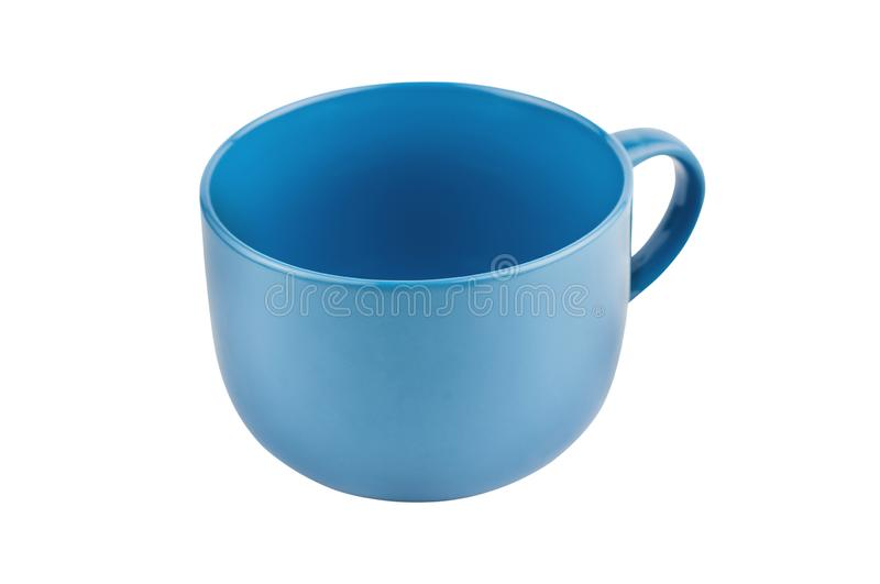 Single blue empty ceramic cup for drinks or other liquid products isolated on white. Background stock photos