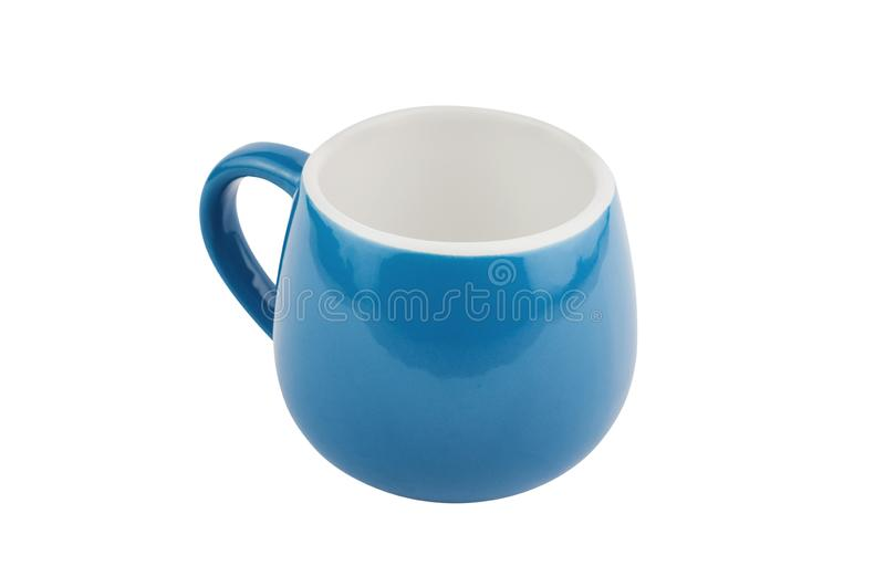 Single blue empty ceramic cup for drinks or other liquid products isolated on white. Background royalty free stock photos
