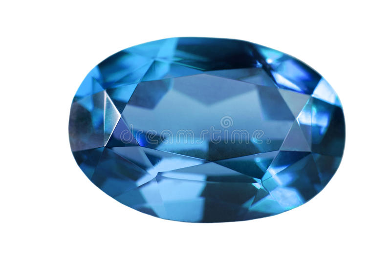 Single blue sapphire isolated on white stock photography