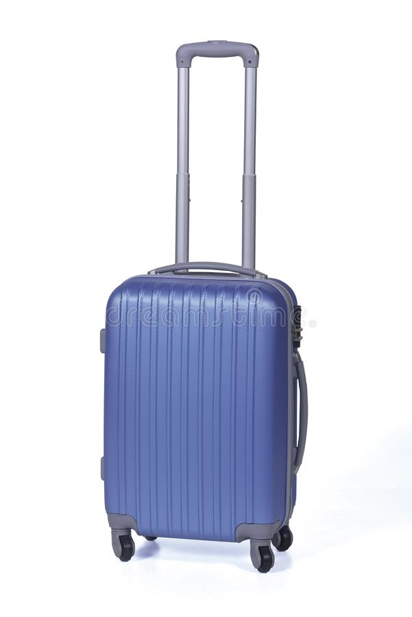 One blue suitcase for travel or blue luggage, blue baggage isolated stand alone on white background with clipping path. royalty free stock images