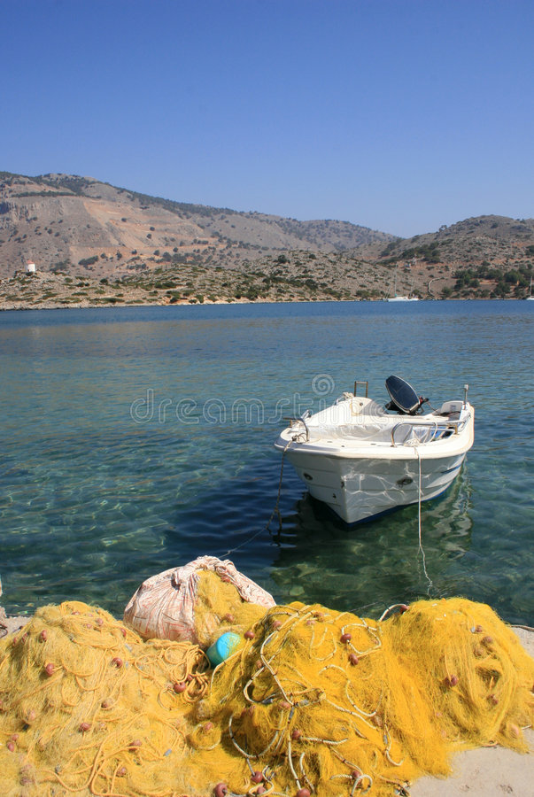Download Single Boat And Fishing Nets Stock Photo - Image of panoramic, fish: 6981022