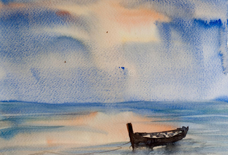 Single boat on sea vector illustration