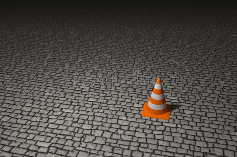 Lonely bollard. Single bollard on the big paved square, 3d rendering vector illustration