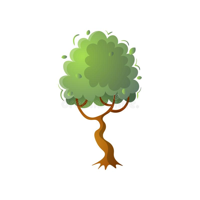 Single botanical tree with green leafs crown at forest royalty free illustration