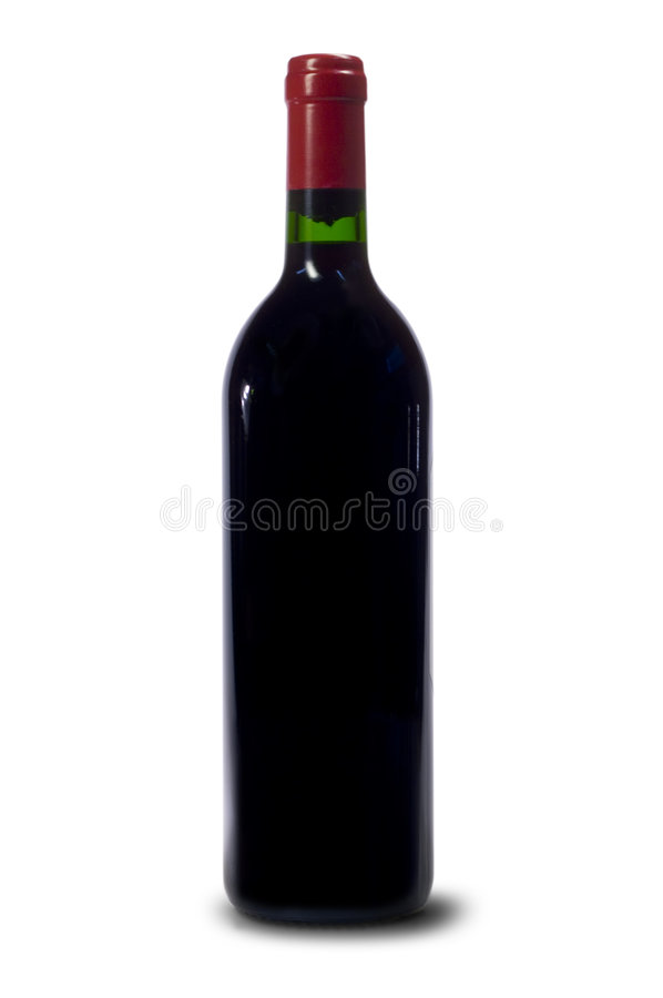 Single bottle of red wine stock photos