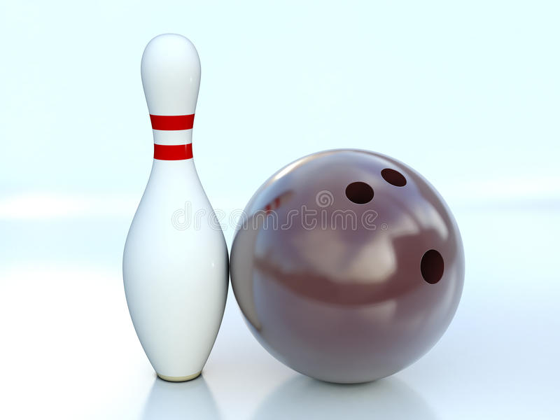 Download Single Bowling Pin And Bowling Ball Stock Illustration - Illustration of recreation, hitting: 20810412