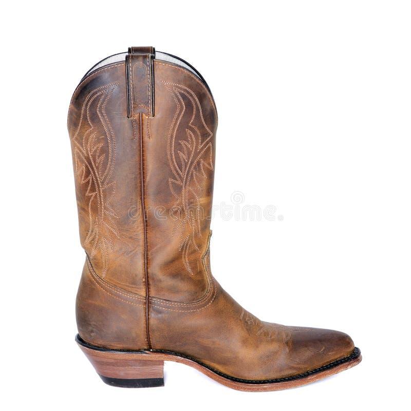 Single Brown Western Boot stock photo