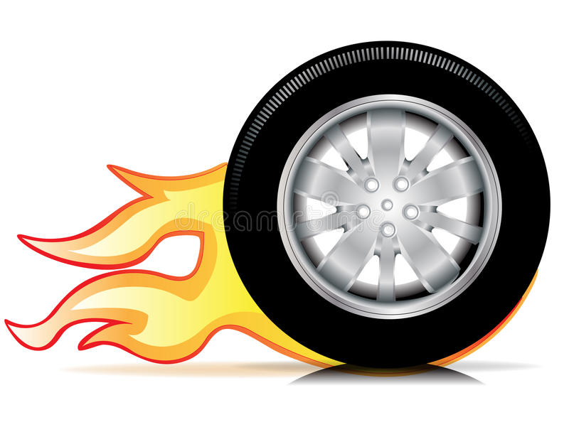 Single car wheel with flames trace royalty free illustration
