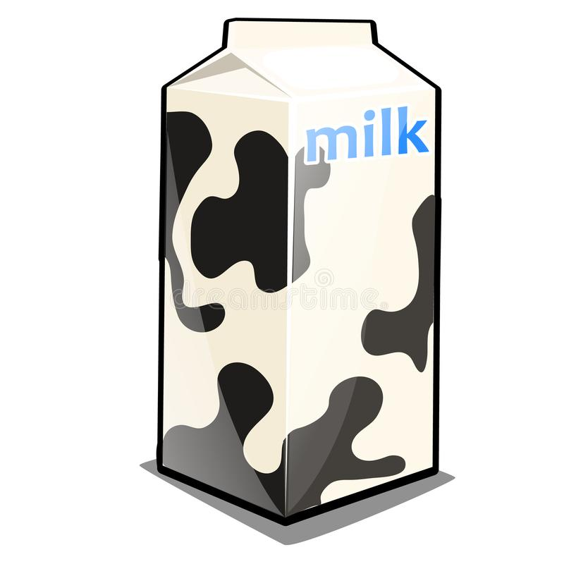 A single carton of milk with the words and black and white texture isolated on a white background. Package design of. Dairy products, retail package. Vector royalty free illustration