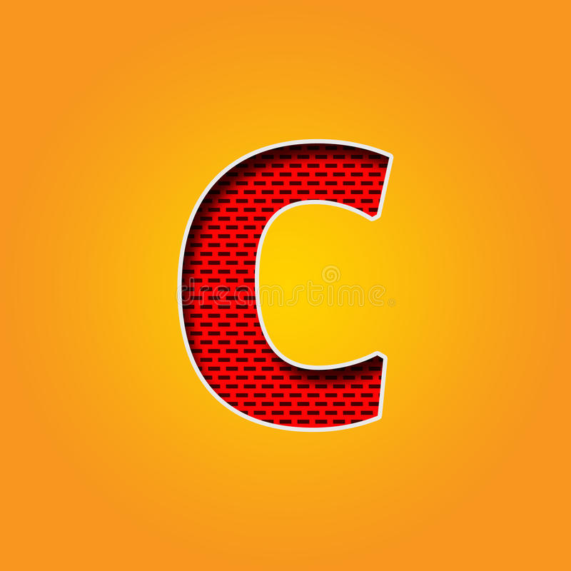 Single Character C Font In Orange And Yellow Color Alphabet Stock ...
