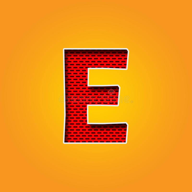 Single Character E Font In Orange And Yellow Color Alphabet Stock ...