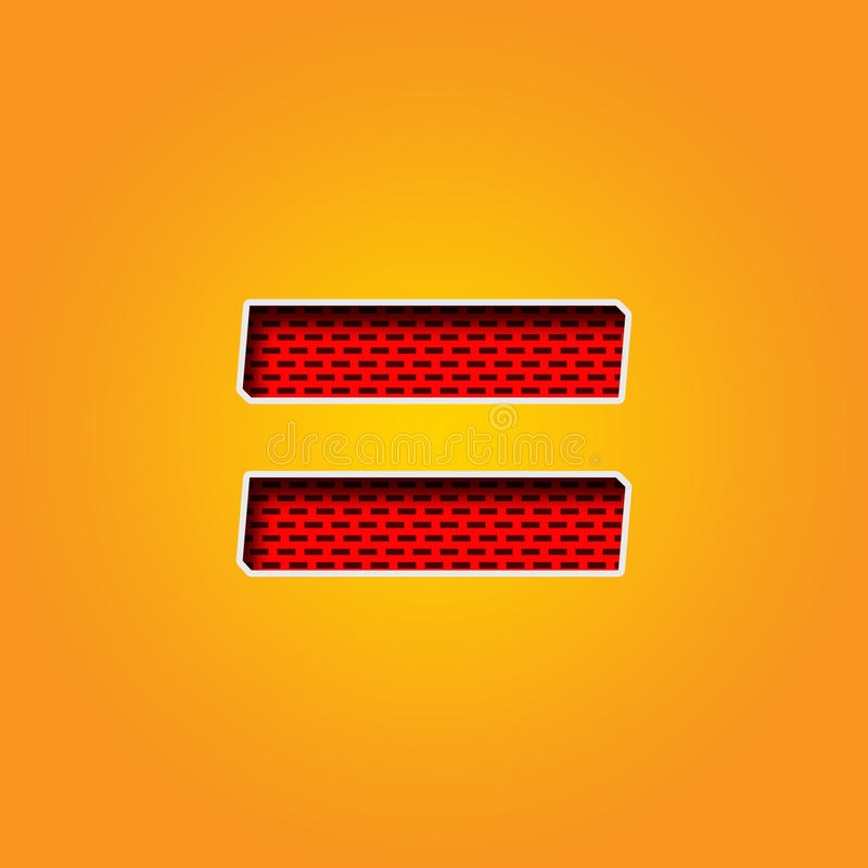 Single Character = Equal Sign Font in Orange and Yellow color Alphabet royalty free illustration