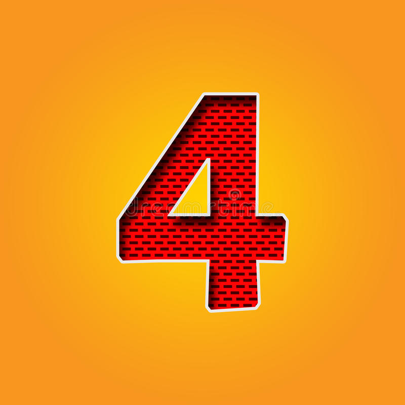 Single Character 4 Four Font In Orange And Yellow Color Alphabet ...