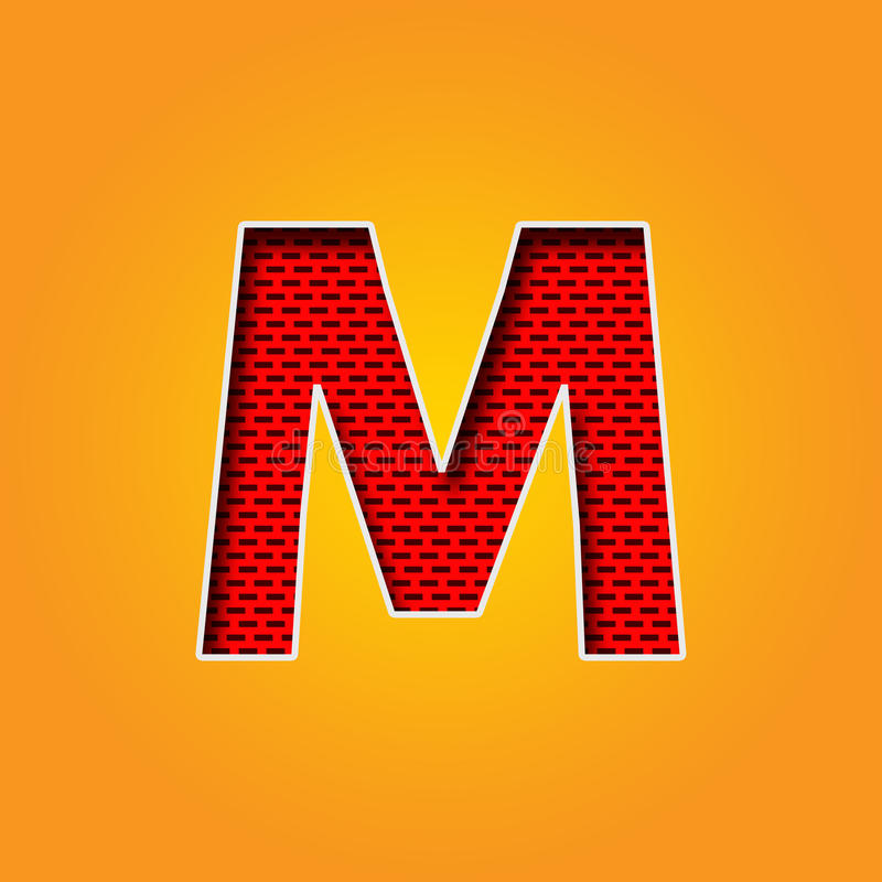 Single Character M Font In Orange And Yellow Color Alphabet Stock ...